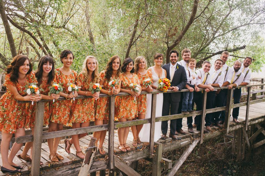 Wedding With Pattern Bridesmaid Dresses