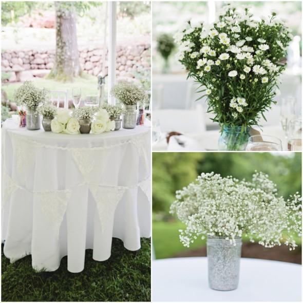Garden Wedding Sweetheart Table with Flags