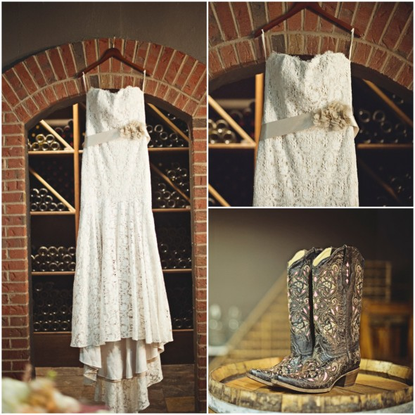 Lace Wedding Dress and Cowboy Boots