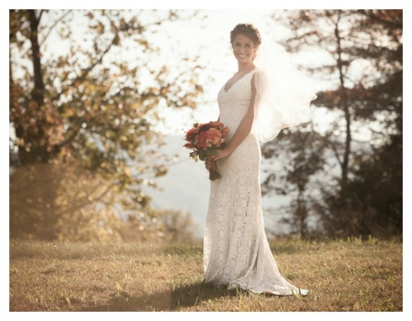 White Lace Keyhole Gown