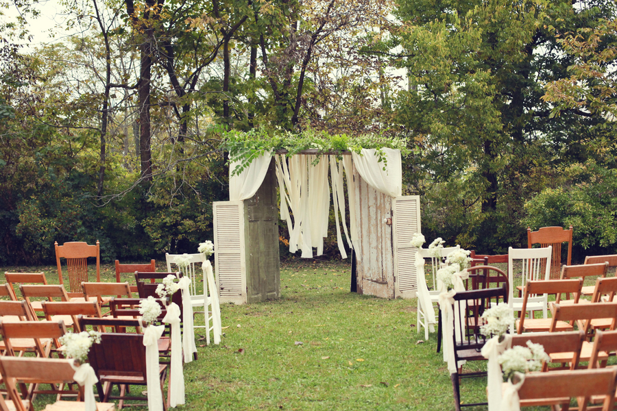 Beautiful Farm Wedding Ceremony Backdrop