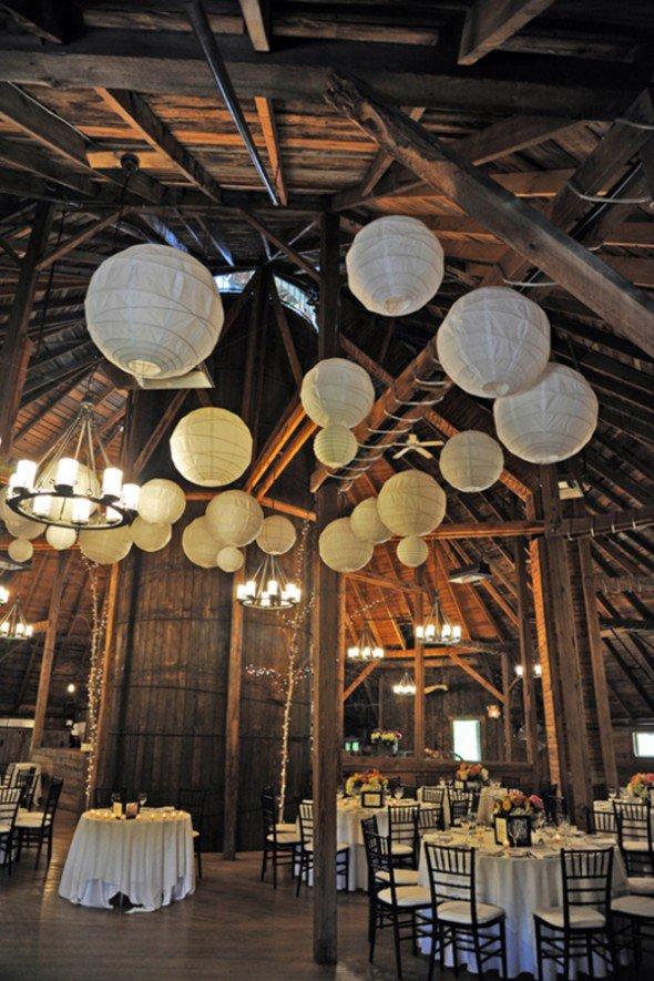 How to light a barn wedding rustic wedding chic - Paper lantern chandelier ...