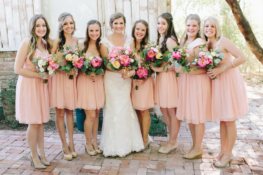 Lace Wedding Dress And Beautiful Bouquet Bridesmaid Blush Pink Dresses