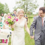 Country Wedding Petals Tossed on Bride + Groom