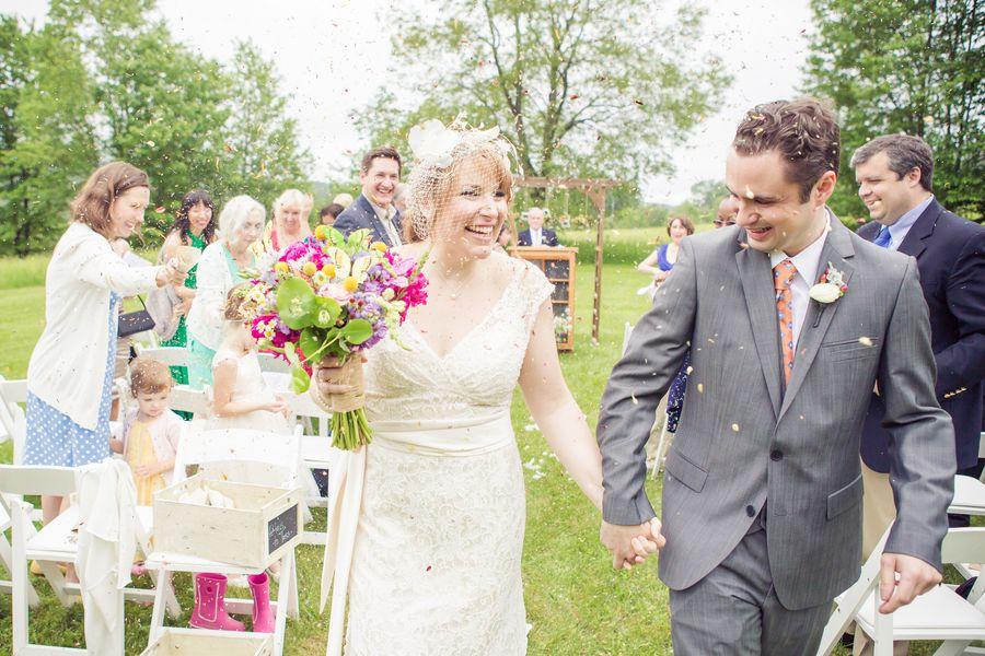 Country Wedding Petals Tossed on Bride + Groom