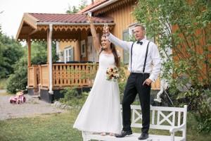 Swedish Countryside Wedding Bride and Groom Toast