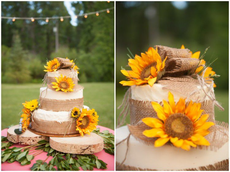 Square Wedding Cakes With Burlap
