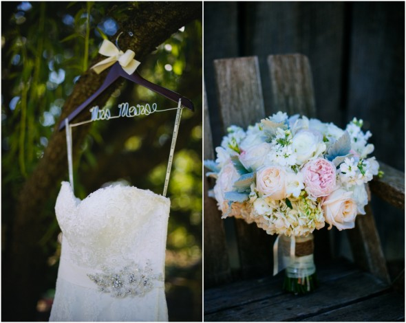 California Ranch Wedding Dress and Bouquet