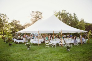 Sailcloth Pole Tent for a Backyard Wedding