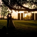 Bride and Groom as the Sun Sets on a Backyard Wedding