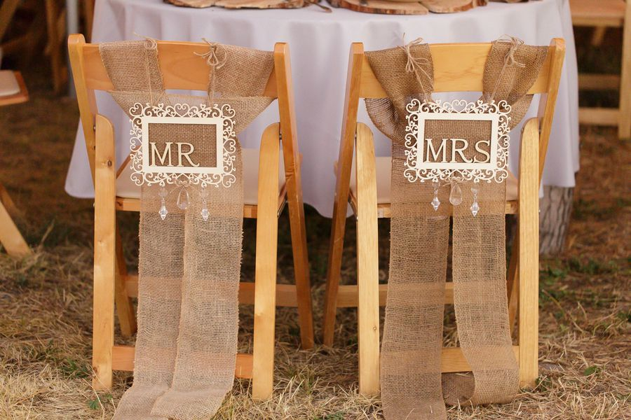 Burlap Mr. & Mrs. Chair Signs