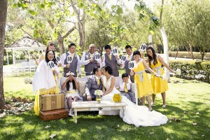 The Wedding Party on Yellow, White and Grey