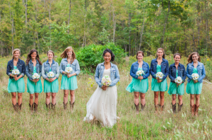 Bride & Bridesmaid In Jean Jackets