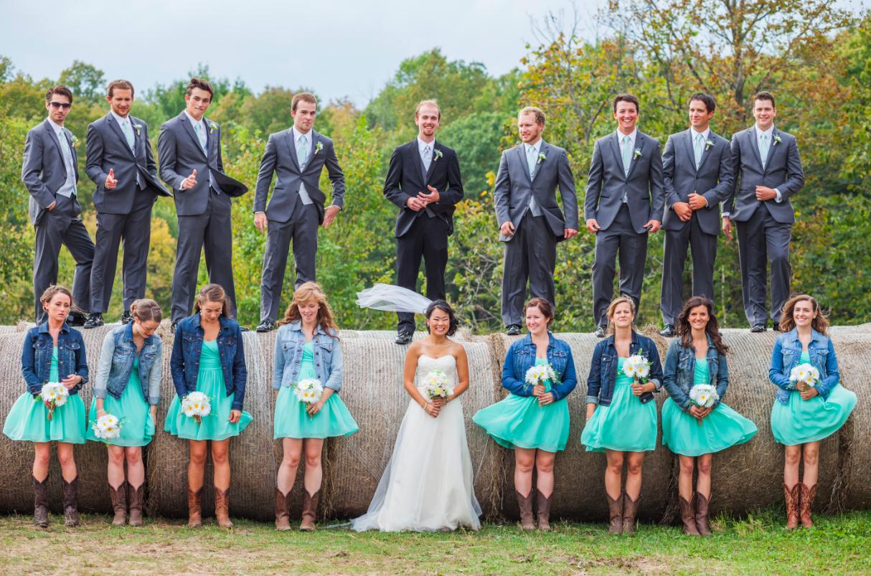 3d3514594d13 Bride   Bridesmaids In Jean Jacket At Wedding - Rustic Wedding Chic