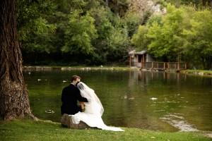 Bride and Groom at Rustic Utah Wedding Venue