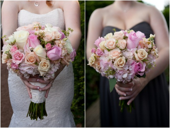 Bride and Maid of Honor Roses Wedding Bouquets