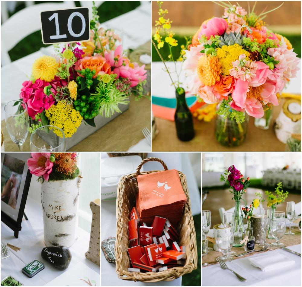 Rustic Wedding Centerpieces: Colorful Lakeside Wedding