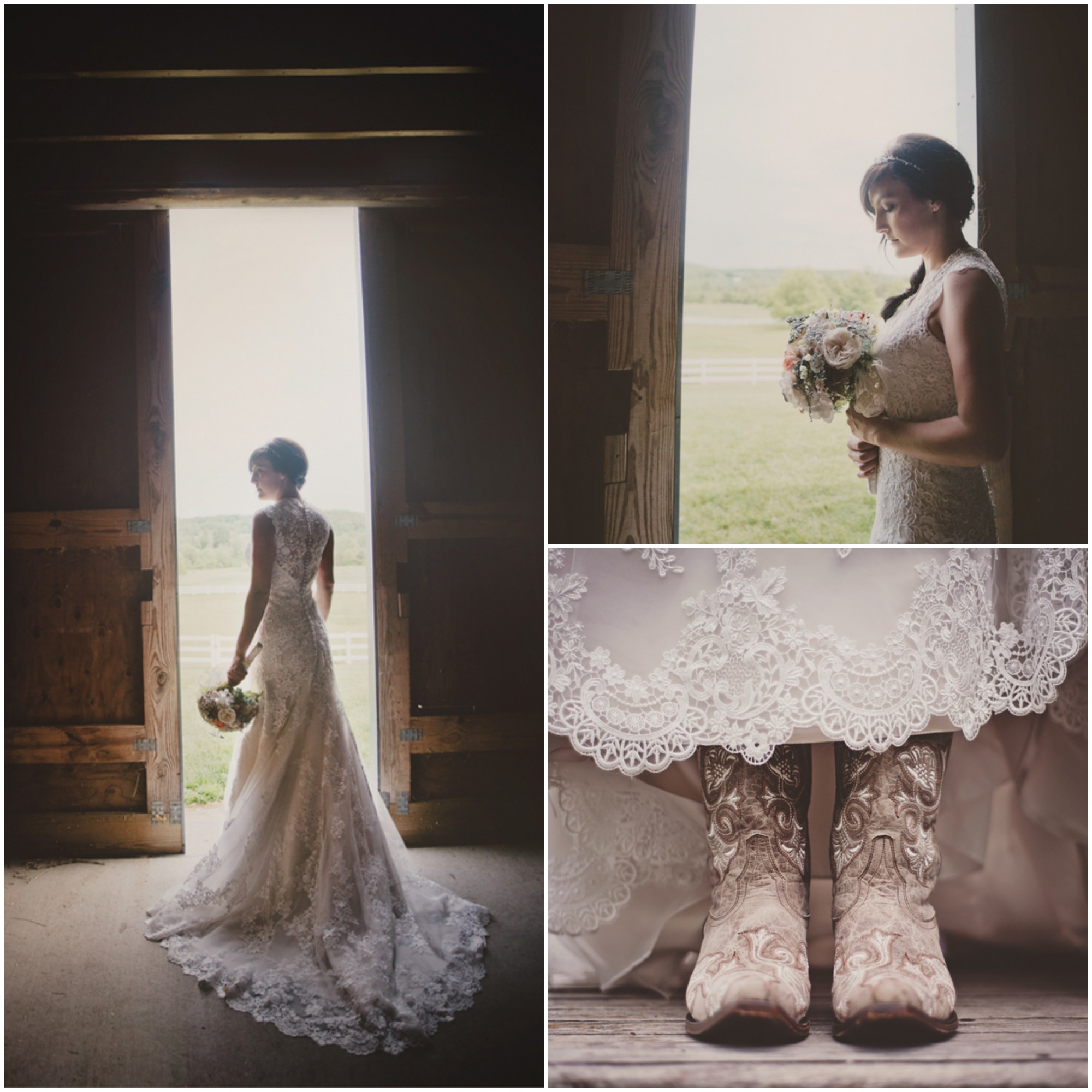 Lace Wedding Dress With Cowboy Boots Flower Girl Dresses