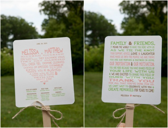 Wedding Program on Wooden Sticks