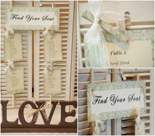 Wedding Place Cards on Shutters