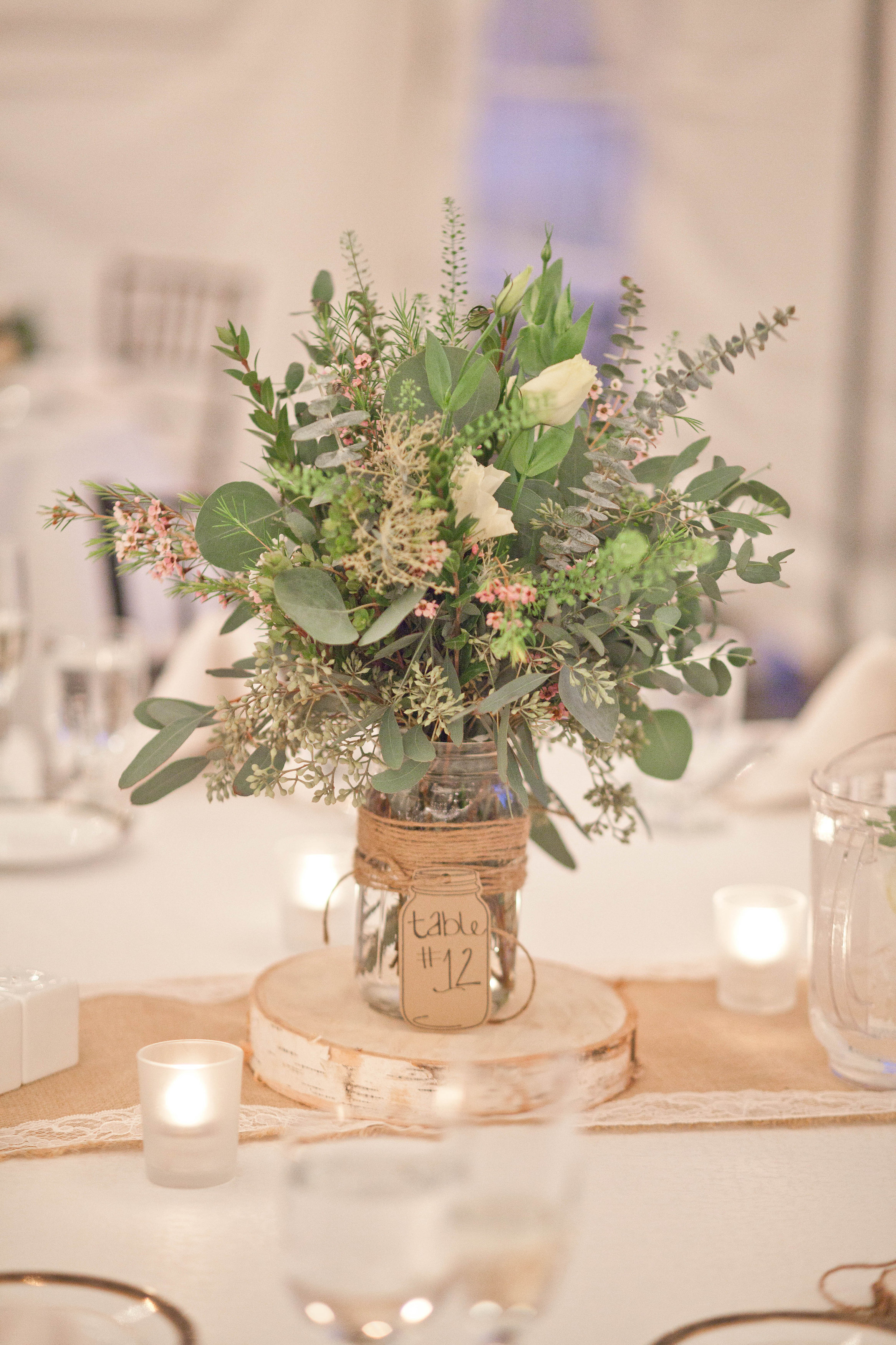 Fall new england farm wedding rustic wedding chic for Table arrangements
