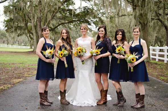 Navy Blue Bridesmaid Dresses With Cowboy Boots Country Sunflower Wedd...
