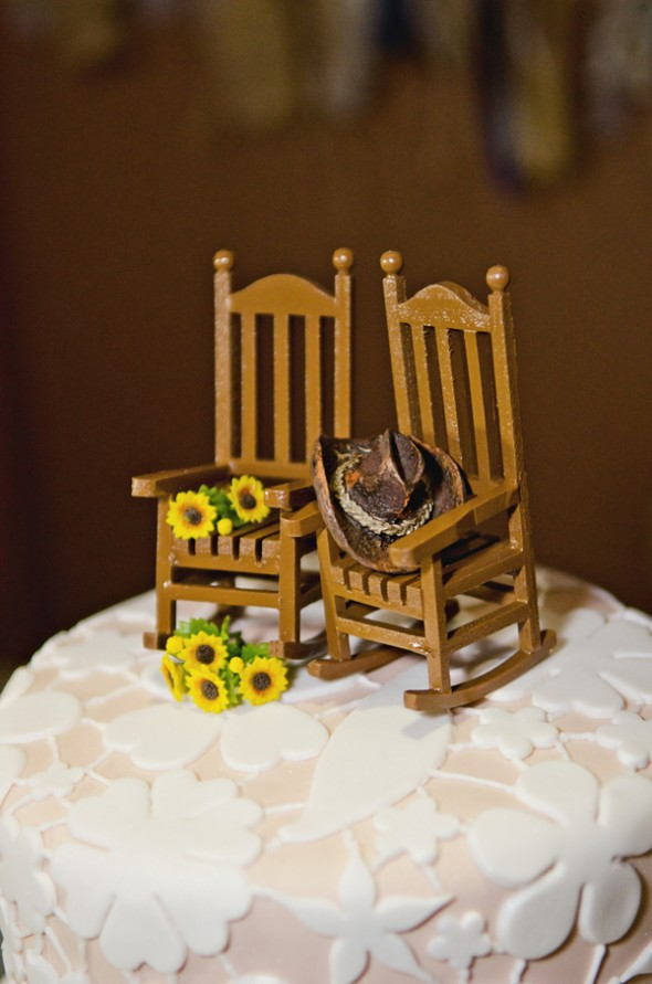 Rocking Chair With Sunflowers Cake Topper