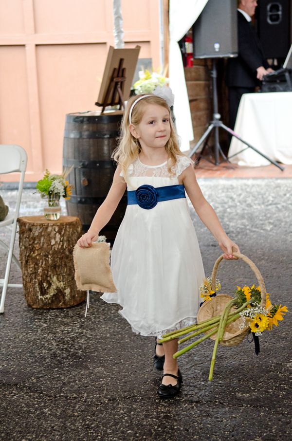 Country sunflower wedding rustic wedding chic flower girl in white with navy sash and sunflowers mightylinksfo