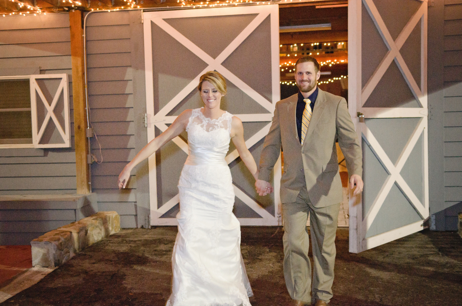 Country Bride and Groom and Barn Wedding Reception