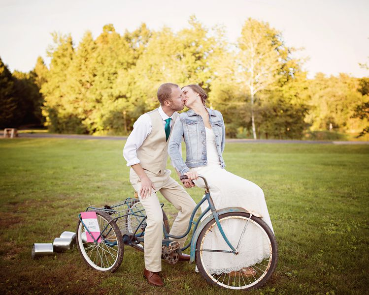 Country Bride and Groom on Bike