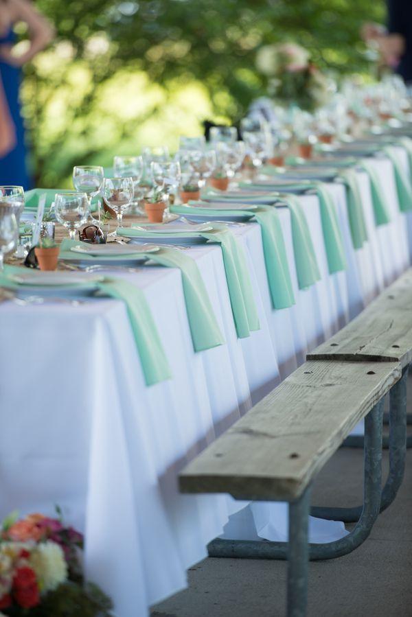 Picnic Tables Elegantly Set for Wedding