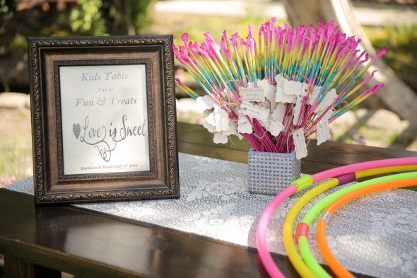 Kids Table of Treats at Rustic Wedding