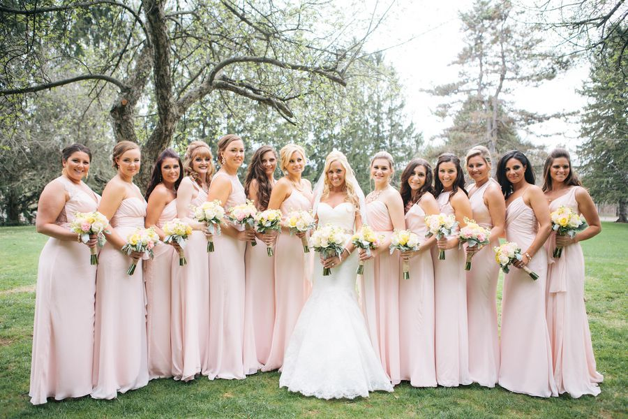 Wedding Party In Light Pink Long Gowns
