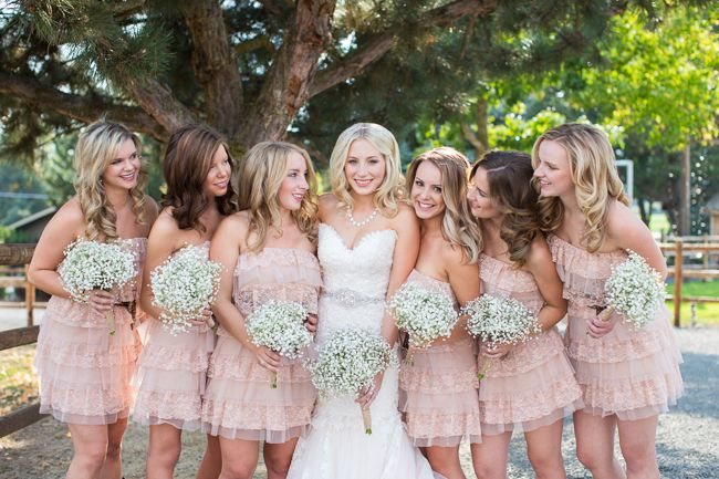 Outdoor Country Wedding Light Pink Bridesmaid Dresses