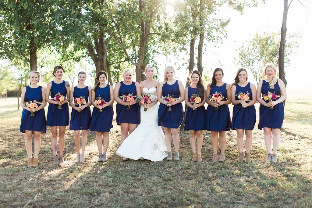 Navy Blue Bridesmaid Dresses Elegant Rustic Bride Barn Wedding