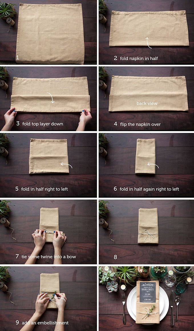 Ways To Fold A Napkin Rustic Wedding Chic