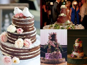 Rustic Chocolate Wedding Cakes