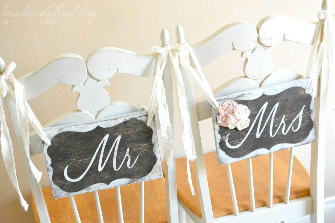 How To Make Mr & Mrs Chair Signs - Rustic Wedding Chic