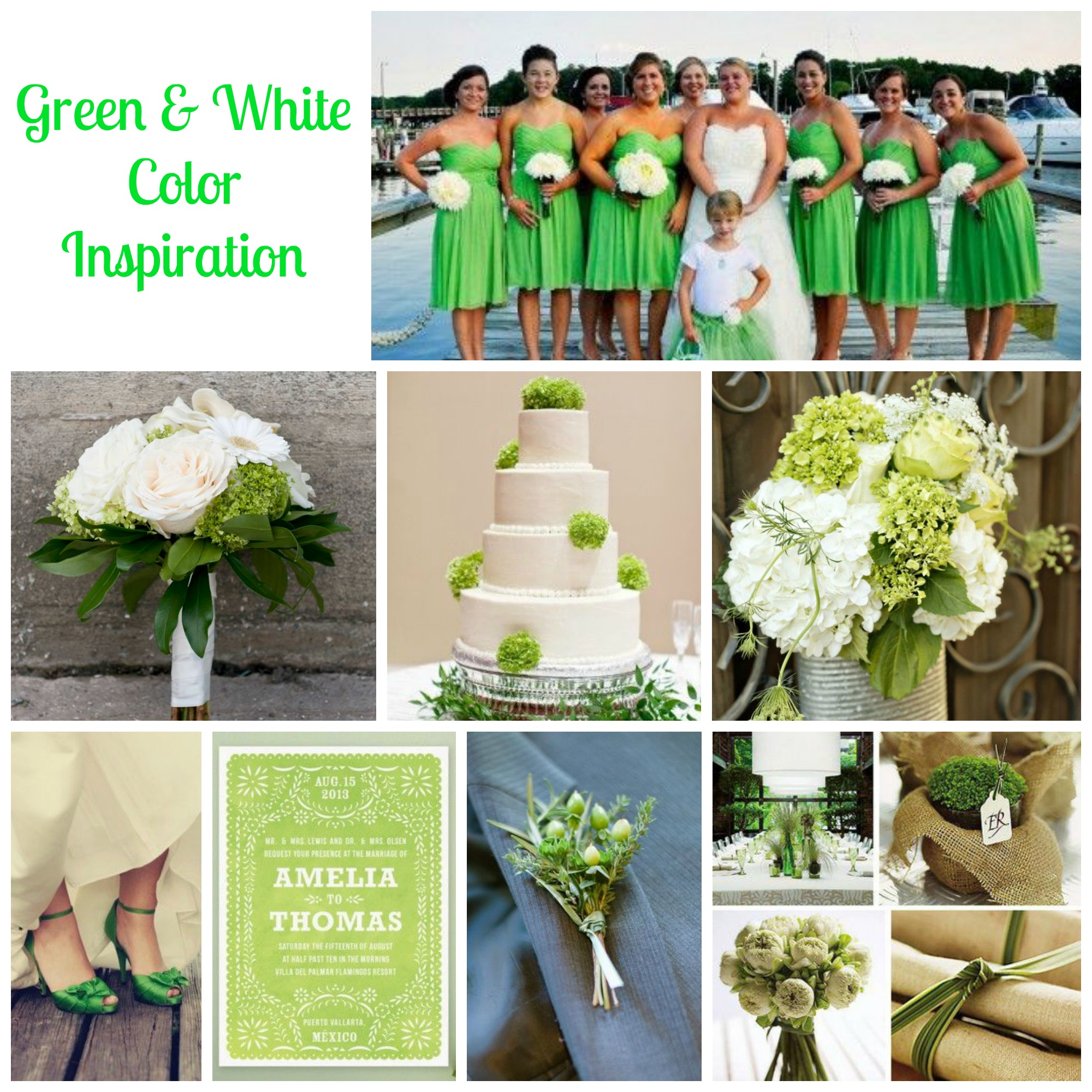 Green white wedding ideas rustic wedding chic for All white wedding theme pictures