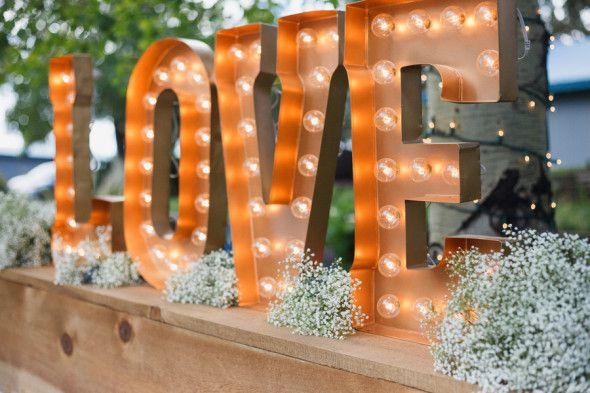 Large Love sign at wedding