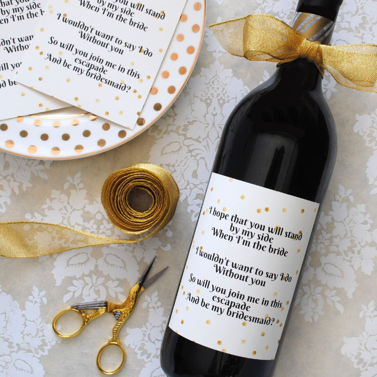 Will You Be My Bridesmaid Wine Label Rustic Wedding Chic