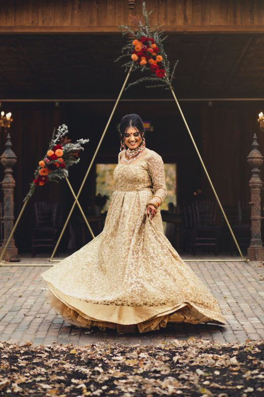 Bride smiling twirling in wedding dress
