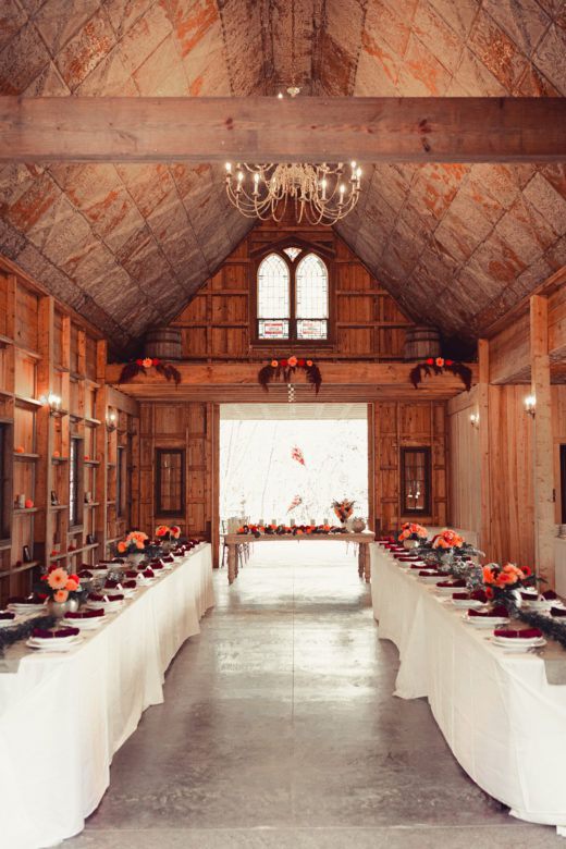 Barn decorated for wedding ceremony
