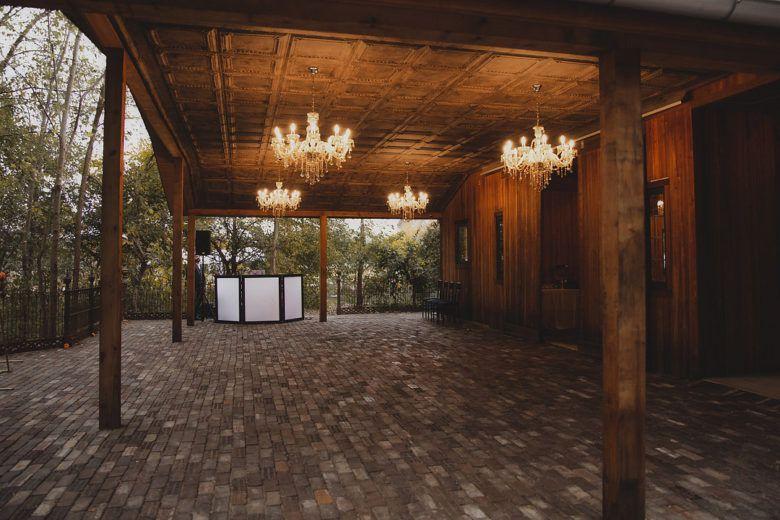 wedding dance floor with chandeliers