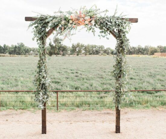 rustic wedding altar with flowers