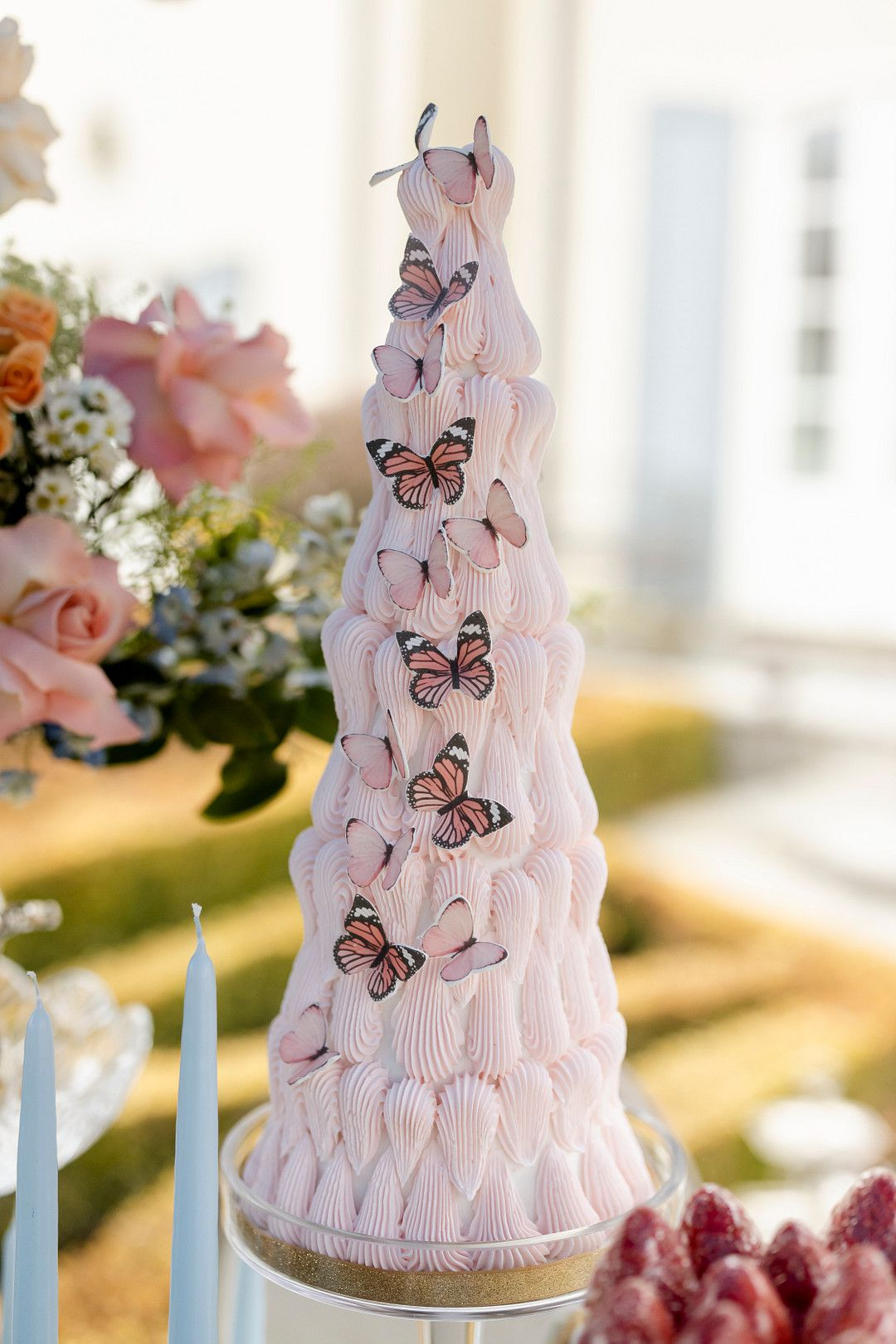 wedding cake decorated with butterflies
