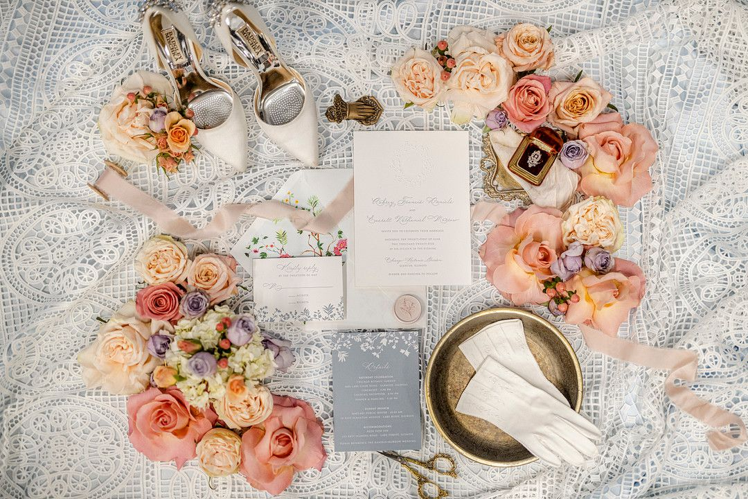 bridgerton netflix inspired shoes and wedding invitations