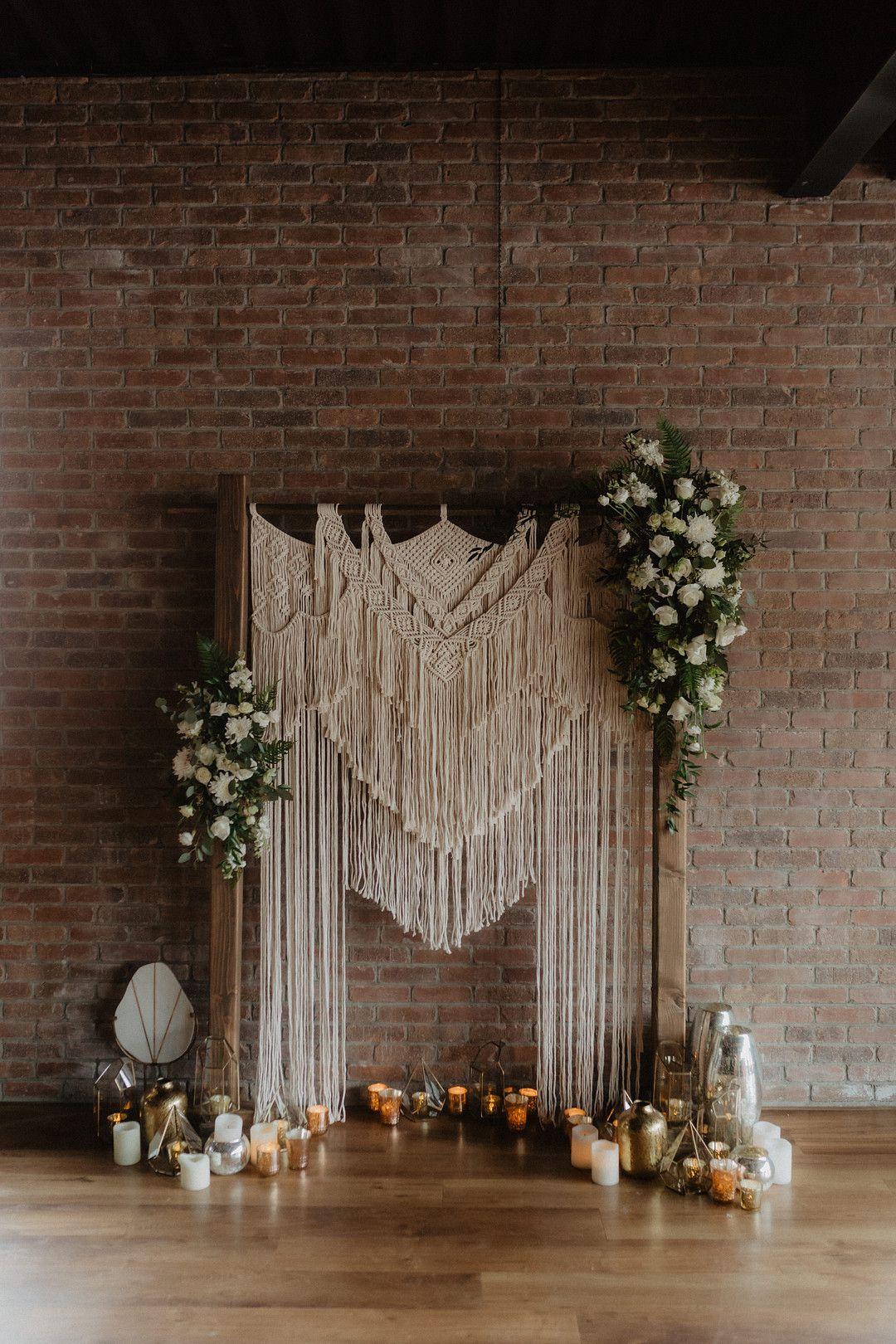 intimate bohemian minimony ceremony arch