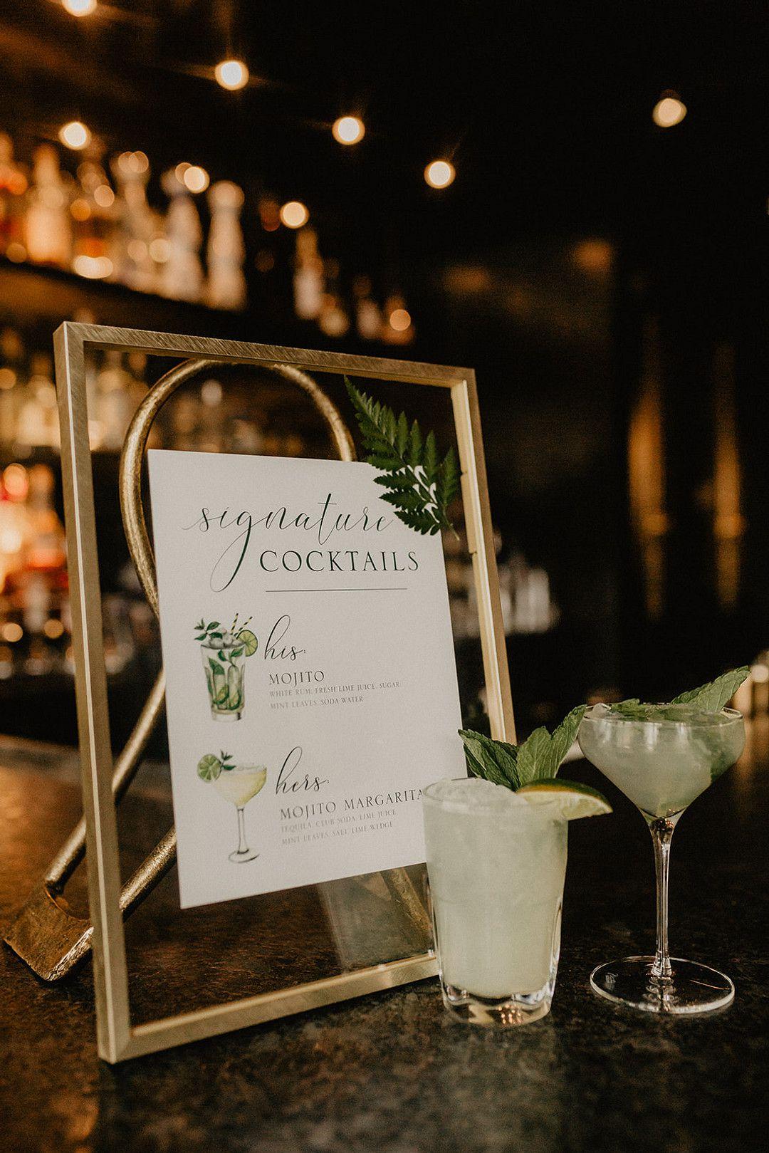 intimate bohemian minimony signature drink menu