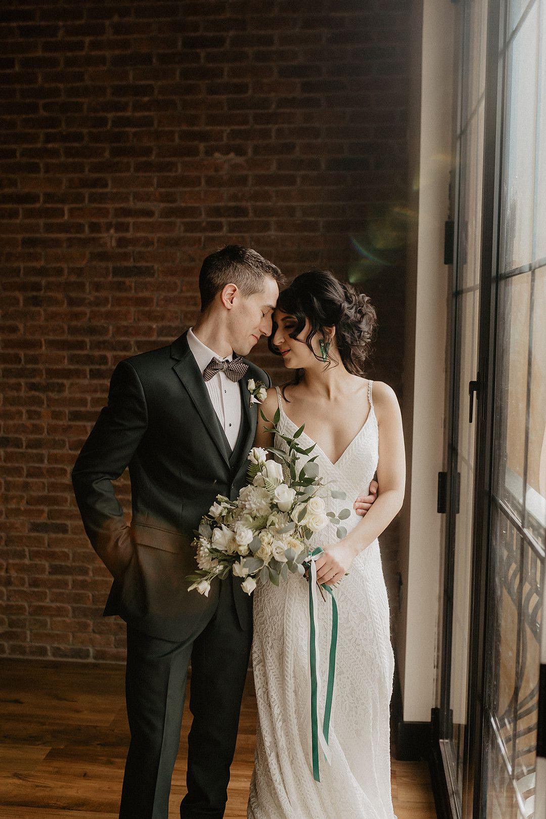 bride and groom at intimate bohemian minimony